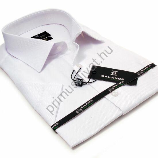 Balance anyagában szövött fényes mintás, egyszínű fehér rövid ujjú slim-fit alkalmi ing
