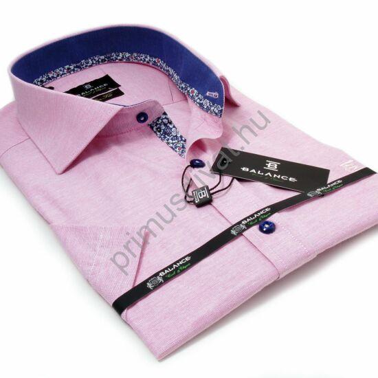 Balance kék mintás betétes rózsaszín melange rövid ujjú slim fit alkalmi ing