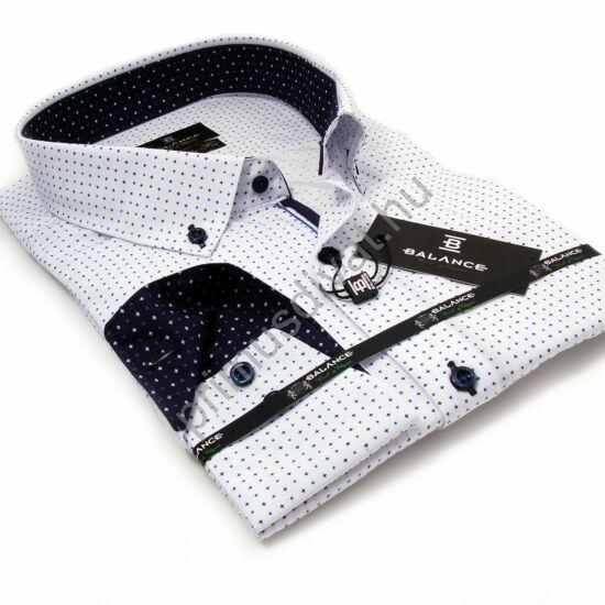 Balance legombolt galléros kék-fekete mintás fehér hosszú ujjú elegáns regular fit ing