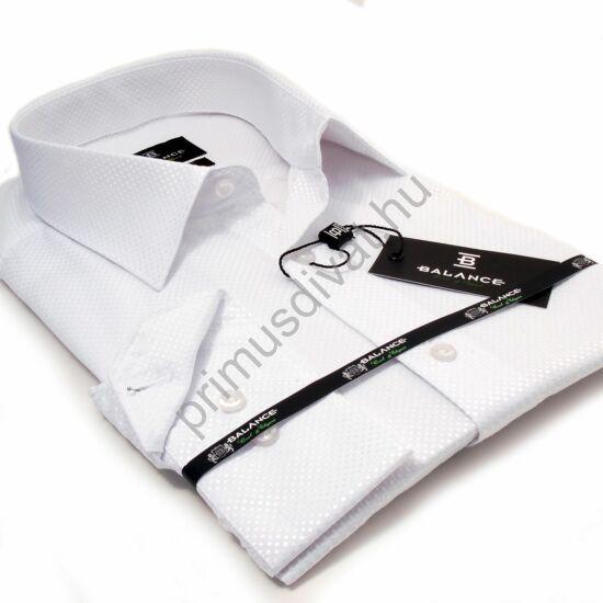 Balance anyagában szövött fényes mintás, egyszínű fehér hosszú ujjú slim-fit alkalmi ing