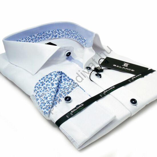Balance fehér hosszú ujjú alkalmi pamutszatén slim-fit ing, világoskék mintás betétekkel