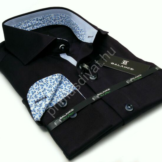 Balance sötétkék hosszú ujjú alkalmi pamutszatén slim-fit ing, világoskék mintás betétekkel