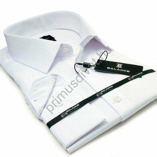 Balance hagyományos bő szabásvonalú, anyagában szövött mintás hosszú ujjú fehér alkalmi ing