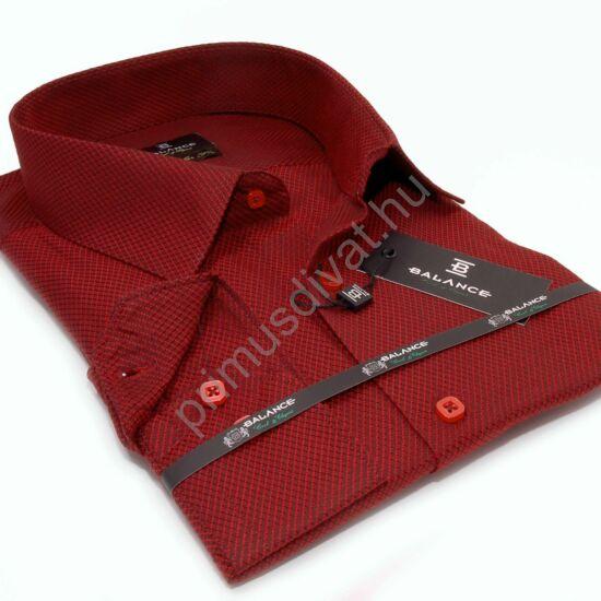 Balance anyagában szövött mintás bordó hosszú ujjú, hagyományos szabásvonalú regular-fit alkalmi ing