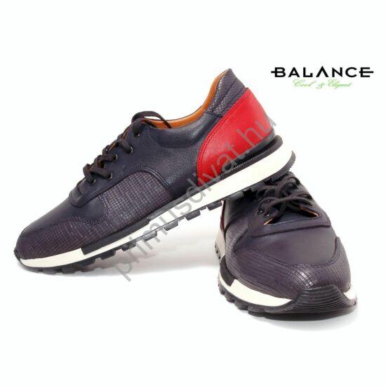 Balance casual stílusú bőr férfi sportcipő, kék-piros