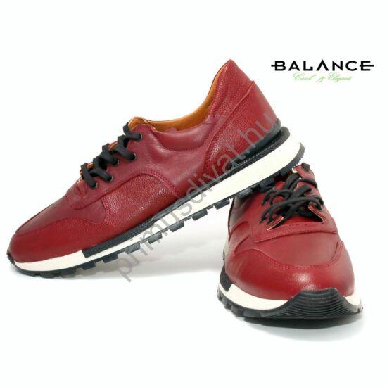 Balance casual stílusú bőr férfi sportcipő, bordó