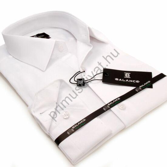 Balance rugalmas anyagú, szövött rombuszmintás egyszínű fehér karcsúsított body-fit hosszú ujjú ing