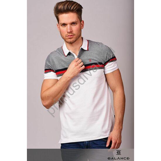 Balance szürke-piros csíkos galléros, gombos fehér rövid ujjú Nizza piké póló