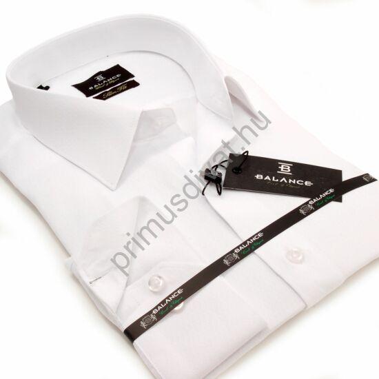 Balance anyagában szövött apró rombuszmintás, egyszínű fehér karcsúsított hosszú ujjú slim-fit alkalmi ing