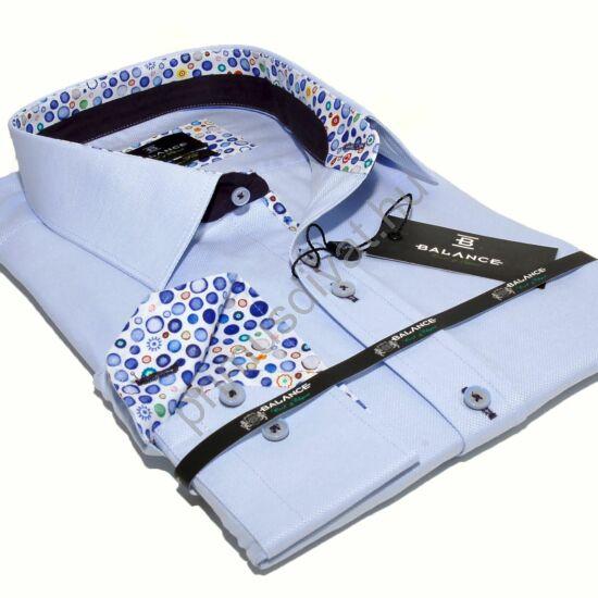 Balance világoskék hosszú ujjú slim-fit ing, színes karikamintás betétekkel
