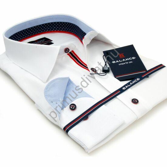 Balance rugalmas anyagú fehér karcsúsított body-fit hosszú ujjú ing, kontrasztos színes betétekkel