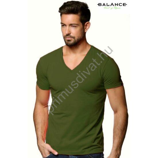 Balance V-nyakú, rugalmas anyagú rövid ujjú póló, ujján fém márkafelirattal, keki