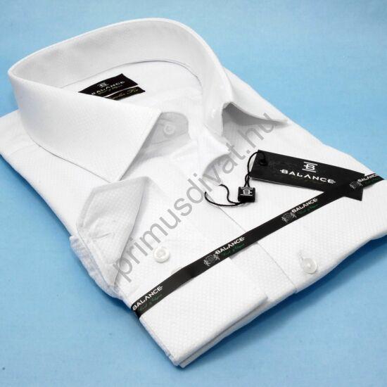 Balance anyagában szövött  fényes mintás fehér hosszú ujjú, hagyományos szabásvonalú regular-fit alkalmi ing