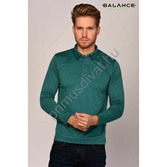 Balance legombolt galléros zöld-melange slim-fit hosszú ujjú póló, gallérján sötétkék csíkbetéttel
