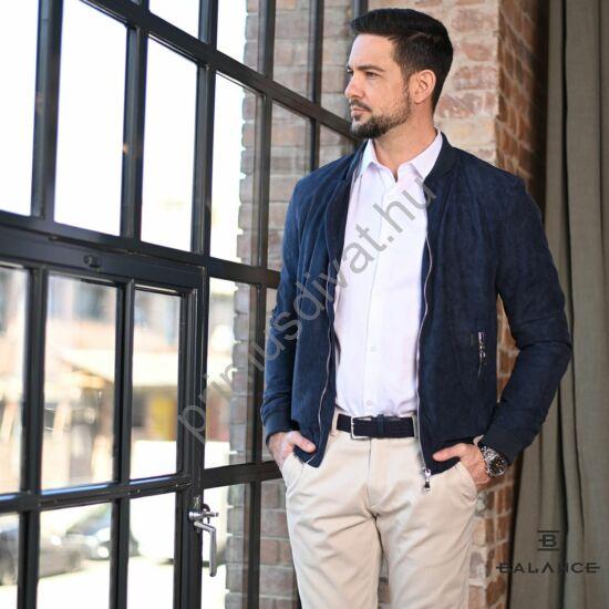 Balance velúr hatású anyagú, cipzáras sötétkék átmeneti slim-fit casual dzseki