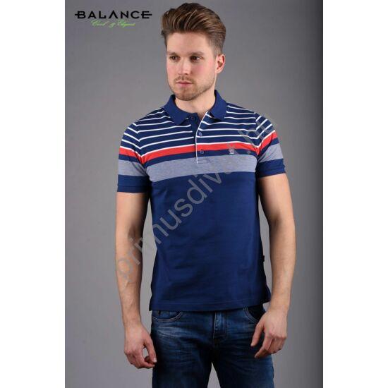 Balance fehér-szürke-piros csíkos sötétkék, galléros-gombos rövid ujjú Cliff piké póló