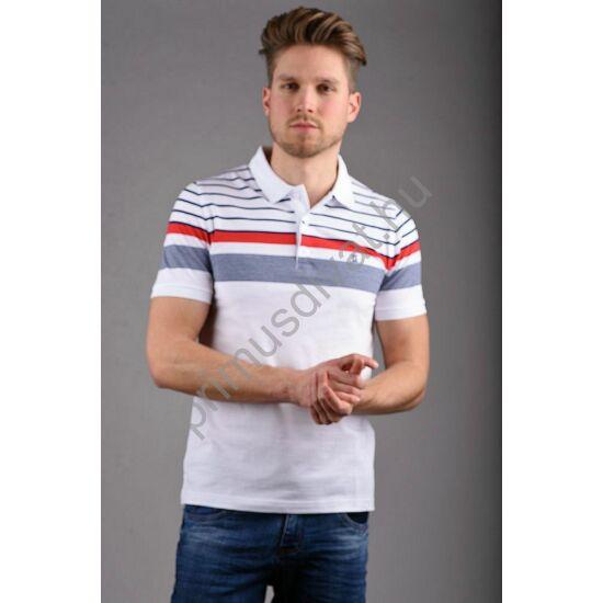 Balance kék-piros csíkos fehér, galléros-gombos rövid ujjú Cliff piké póló