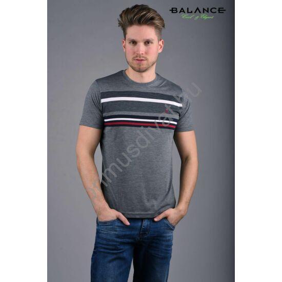 Balance csíkos mellrészű szürke környakas rövid ujjú Lines póló