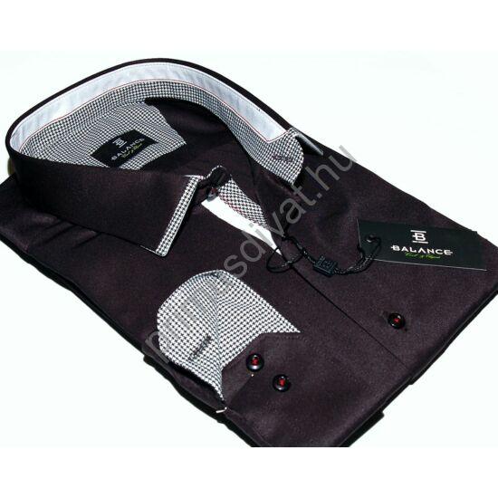 Balance tyúklábmintás betétes, normál szabású pamutszatén ing, fekete