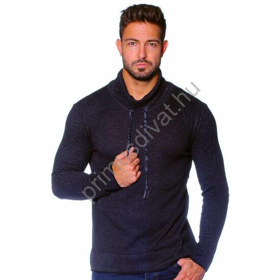 Balance kámzsás nyakú vékony kötött pamut pulóver, sötétkék