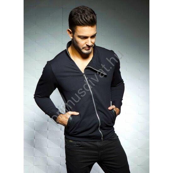 Balance ferde cipzáras, rugalmas pamut kardigán, műbőrszegélyes zsebbel, fekete
