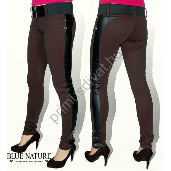 Blue Nature fekete műbőr betétes, széles öves, szűk, rugalmas barna nadrág