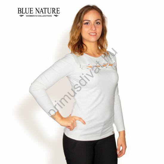 Blue Nature velúrbőr hatású hosszú ujjú fehér felső, mell fölött fűzős kivágással