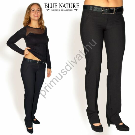 Blue Nature párhuzamos szárú élrevasalt fekete szövetnadrág, műbőr övvel