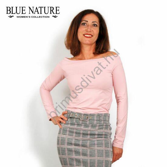 Blue Nature csónaknyakú, rózsaszín hosszú ujjú felső, szűk, normál fazon