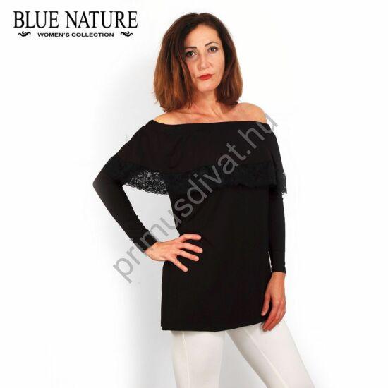 Blue Nature vállra húzható fodros fekete felső, tunika csipke szegéllyel