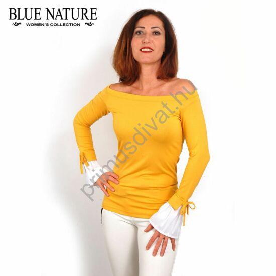 Blue Nature vállra húzható csónaknyakú, okkersárga rugalmas hurkolt felső, fodros fehér ingujjal