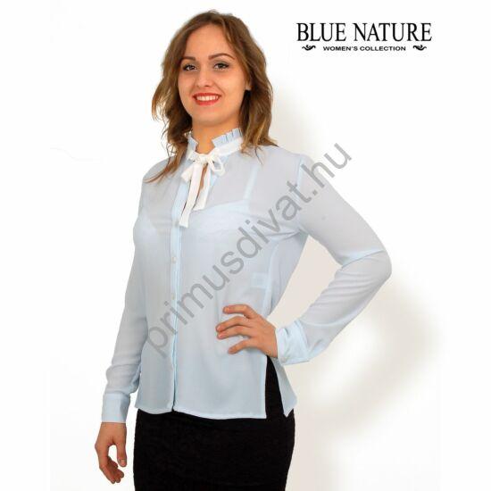 Blue Nature fodros állónyakú, fehér masnis, vékony hosszú ujjú világoskék rugalmas blúz