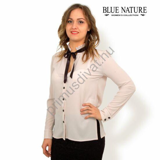 Blue Nature fodros állónyakú, fekete szatén masnis, vékony hosszú ujjú bézs rugalmas blúz