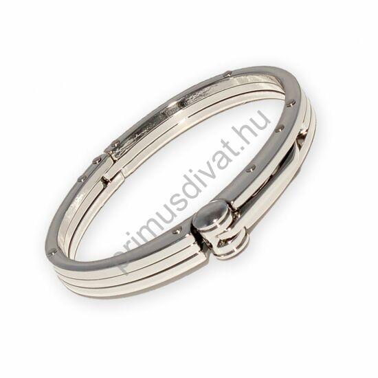 Ezüst színű acél bilincs karkötő, rozsdamentes