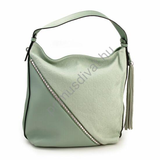 Puha falu, mentazöld színű női műbőr táska, ezüstös fém díszekkel, rojttal, cipzáras záródással