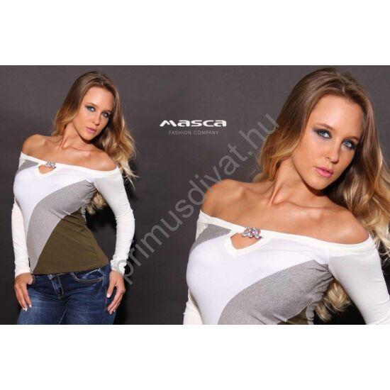 Masca Fashion vállra húzós nyakú, ékszerkapcsos dekoltázsú, háromszínű csíkos felső, fehér, szürke, keki színekben.