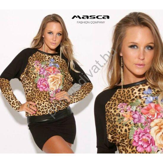 Masca Fashion virágos párducmintás betétes denevérujjú fekete miniruha