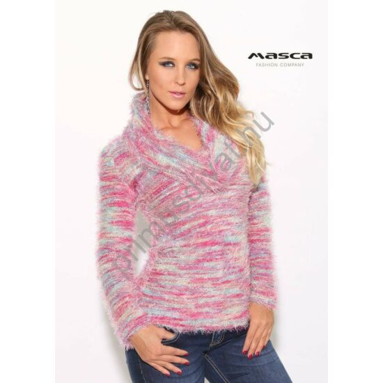 Masca Fashion kék-pink-melange csíkos, kámzsa nyakú, kötött puha szőrös pulóver