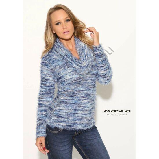 Masca Fashion kék-fehér-melange csíkos, kámzsás nyakú, kötött puha szőrös pulóver