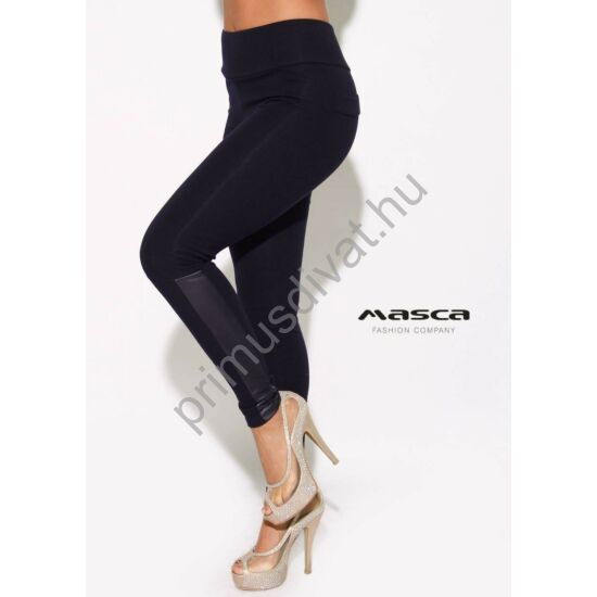Masca Fashion magas derekú sötétkék vastag, belül bolyhos viszkóz cicanadrág, jól táguló rugalmas anyagból
