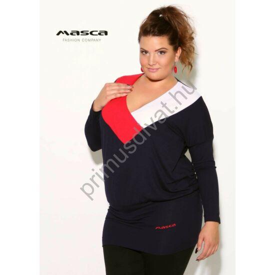 Masca Fashion piros-fehér szegélyes V-nyakú, sötétkék denevérujjú bő felső, csípőjén hímzett márkafelirattal