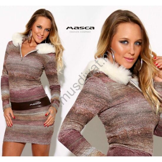 Masca Fashion cipzáras nyakú, fehér szőrmeszegélyes kapucnis kötött melange miniruha, barna műbőr betéttel