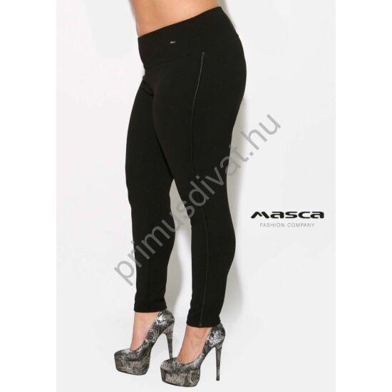 Masca Fashion magasított derekú, fekete elasztikus punto cicanadrág, műbőr paszpóllal