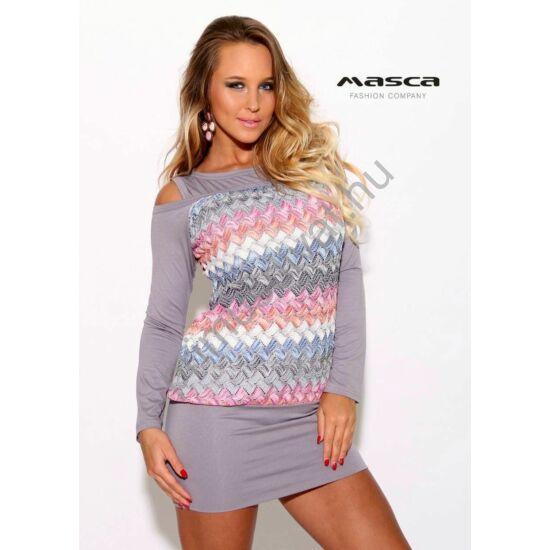 Masca Fashion nyitott vállú, hosszú ujjú szürke miniruha, színes csíkos áttört mintás testrésszel