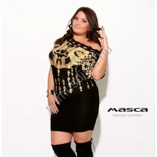 Masca Fashion befűzött megkötős csónaknyakú, arany mintás fekete bő miniruha, húzott szoknyarésszel