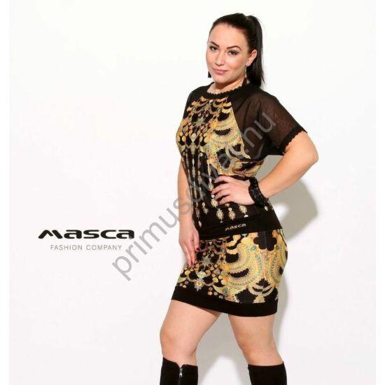 Masca Fashion rövid muszlin raglánujjú, arany mintás fekete miniruha, csipkeszegélyekkel