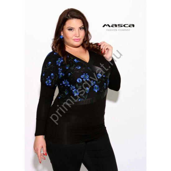 Masca Fashion műbőr betétes V-nyakú, denevérujjú bő fekete felső, tunika, hímzett kék virágos betéttel