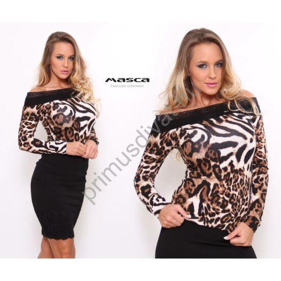 Masca Fashion csipkeszegélyes vállra húzható, párducmintás hosszú ujjú szűk, állati jó felső