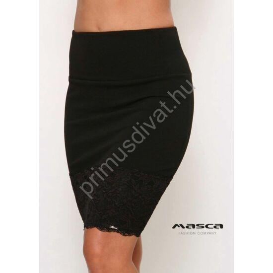 Masca Fashion magasított derekú fekete alkalmi szoknya alján széles csipkerátéttel