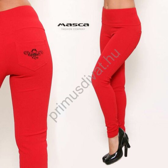 Masca Fashion magasított derekú, piros elasztikus punto cicanadrág, feketével hímzett zsebbel